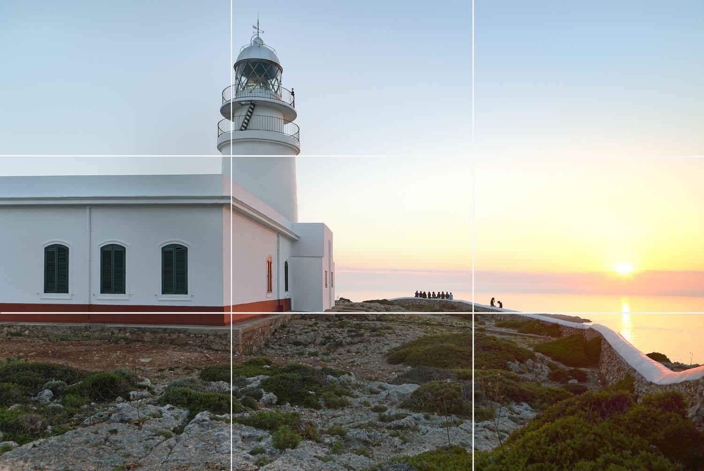 Drittelregel_Leuchtturm Menorca
